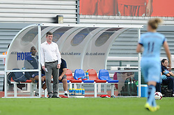 Bristol Academy Womens manager, Dave Edmondson watches from the bench - Photo mandatory by-line: Dougie Allward/JMP - Mobile: 07966 386802 - 28/09/2014 - SPORT - Women's Football - Bristol - SGS Wise Campus - Bristol Academy Women's v Manchester City Women's - Women's Super League