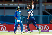 India ODI all rounder Hardik Pandya  is out off the bowling of England ODI bowler Mark Wood  during the 3rd Royal London ODI match between England and India at Headingley Stadium, Headingley, United Kingdom on 17 July 2018. Picture by Simon Davies.
