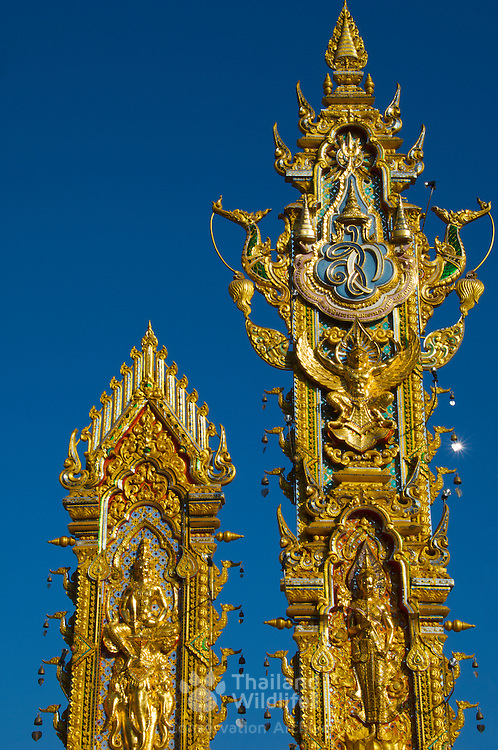 Gold buddhist totems at Sop Ruak, Golden Triangle, northern Thailand