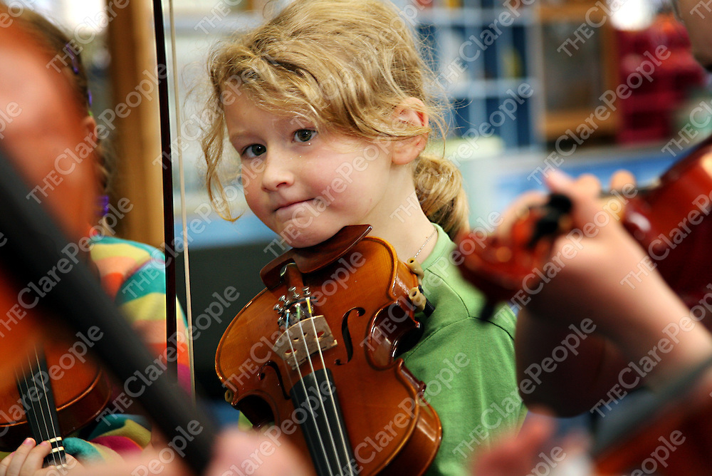 Grainne McNeilis listening carefully during the beginners fiddle class at the Eigse Mrs. Crotty traditional music festival in Kilrush during the week.<br />