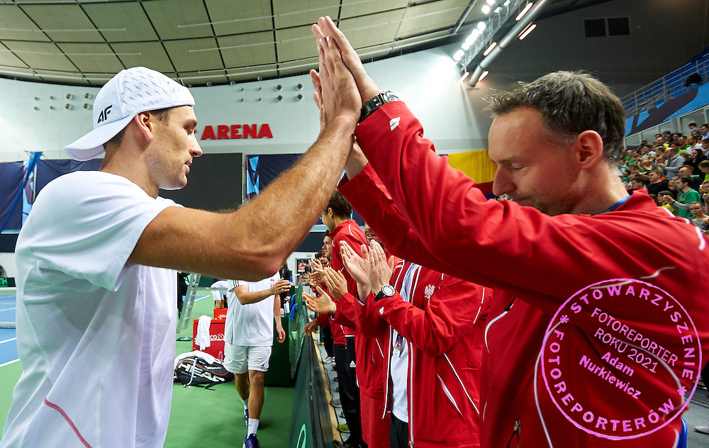 (L) Lukasz Kubot of Poland and (R) Piotr Chomicki from Babolat during second day the Davies Cup / Group I Europe / Africa 1st round tennis match between Poland and Lithuania at Orlen Arena on March 7, 2015 in Plock, Poland<br /> Poland, Plock, March 7, 2015<br /> <br /> Picture also available in RAW (NEF) or TIFF format on special request.<br /> <br /> For editorial use only. Any commercial or promotional use requires permission.<br /> <br /> Mandatory credit:<br /> Photo by &copy; Adam Nurkiewicz / Mediasport