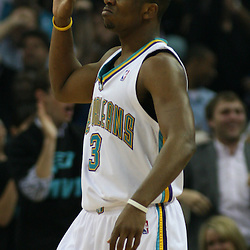 New Orleans Hornets guard Chris Paul #3 reacts to a basket against the Golden State Warriors near the end of the first half of their NBA game on April 6, 2008 at the New Orleans Arena in New Orleans, Louisiana.