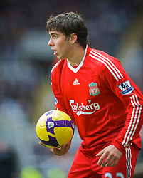 NEWCASTLE, ENGLAND - Sunday, December 28, 2008: Liverpool's Emiliano Insua takes a throw-in against Newcastle United during the Premiership match at St James' Park. (Photo by David Rawcliffe/Propaganda)
