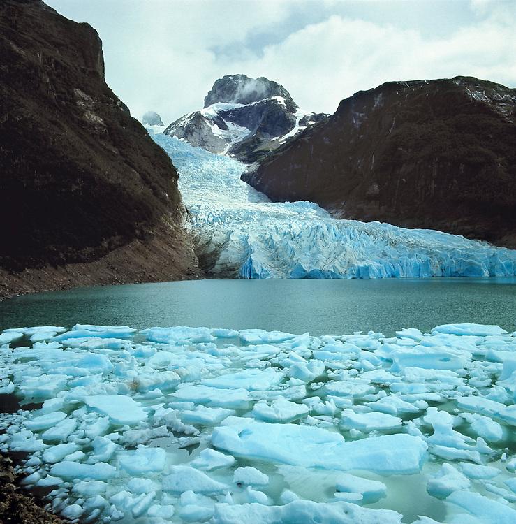 The majestic Serrano Glacier flows into the Ultima Esperanza Fjord, in Chile.