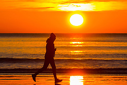 © Licensed to London News Pictures. 02/04/2020. Scarborough UK. A man runs along Scarborough beach as the sun rises this morning on the Yorkshire coast. Photo credit: Andrew McCaren/LNP