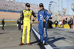 March 2, 2018 - Las Vegas, Nevada, United States of America - March 02, 2018 - Las Vegas, Nevada, USA: Ryan Blaney (12) and Jamie McMurray (1) hang out on pit road during qualifying for the Pennzoil 400 at Las Vegas Motor Speedway in Las Vegas, Nevada. (Credit Image: © Justin R. Noe Asp Inc/ASP via ZUMA Wire)