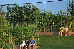 12 August 2011: Fans sit on the stone retainers next to the corn stalks in right-center during a game between the Rockford River Hawks and the Normal Cornbelters at the Corn Crib in Normal Illinois.