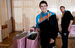 Sebastian Skube and David Miklavcic of Slovenian Handball Men National Team when they get new clothes of Sportina Group for the EHF European Championship EURO 2012 in Serbia, on January 11, 2011, in Zrece, Slovenia. (Photo by Vid Ponikvar / Sportida)