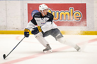 2018-08-04 | Jönköping, Sweden: Buffalo Sabres Lawrence Pilut during the HV71 ice premiere at Kinnarps Arena ( Photo by: Marcus Vilson | Swe Press Photo )<br /> <br /> Keywords: Ice Premiere, Season 2018/19, Sweden, SHL, Jönköping, Kinnarps Arena, Ice Hockey, HV71,
