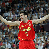 12 August 2012: Spain Rudy Fernandez looks dejected during 107-100 Team USA victory over Team Spain, during the men's Gold Medal Game, at the North Greenwich Arena, in London, Great Britain.