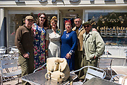 May 30, 2019, Sainte-Mère-Église, Normandy, France. Tourists dressed in military fatigues and civilian clothes participates at  reenactments of military deeds from 1944. The 75th anniversary of D-Day and Battle of Normandy commemoration is a tourist attraction.   <br /> 30 Mai 2019, Sainte-Mère-Église, Normandie, France.  Des touristes vêtus de treillis militaires et vêtements civils participent à la reconstitution d'actes militaires de 1944.