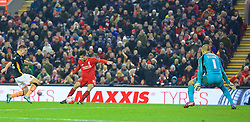LIVERPOOL, ENGLAND - Wednesday, January 20, 2016: Liverpool's Joao Carlos Teixeira scores the third goal against Exeter City during the FA Cup 3rd Round Replay match at Anfield. (Pic by David Rawcliffe/Propaganda)