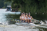 """Henley-on-Thames. United Kingdom.  <br /> Diamond Jubilee Challenge Cup. Henley RC. """"A"""".  Bow. E. MORGAN, G. ROBINSON, C. ORR and M WRIGHT,  2017 Henley Royal Regatta, Henley Reach, River Thames. <br /> <br /> 18:10:56  Saturday  01/07/2017   <br /> <br /> [Mandatory Credit. Peter SPURRIER/Intersport Images."""