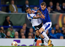 LIVERPOOL, ENGLAND - Thursday, September 28, 2017: Everton's Glyfi Sigurdsson and Apollon Limassol's Allan Rodrigues de Souza during the UEFA Europa League Play-Off 1st Leg match between Everton and Apollon Limassol FC at Goodison Park. (Pic by David Rawcliffe/Propaganda)