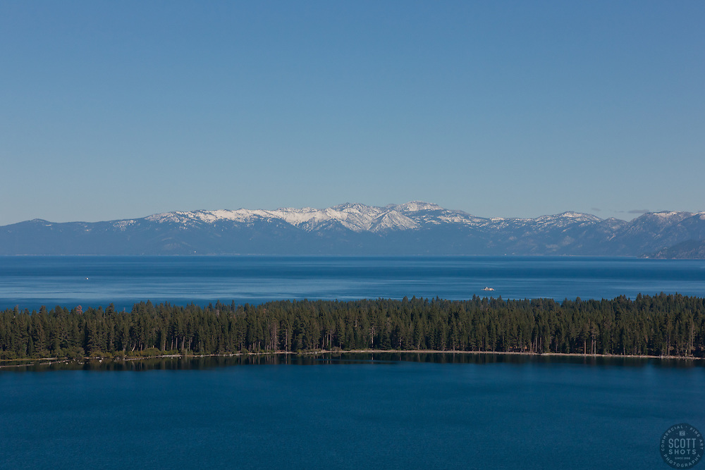 """Lake Tahoe and Fallen Leaf Lake 2"" - Aerial photograph of Fallen Leaf Lake in the foreground and Lake Tahoe can be seen in the background."