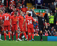 Jonjo Shelvey is shown the Red Card by Referee Mark Halsey after his challenge on Jonny Evans<br />Liverpool 2012/13<br />Liverpool V Manchester United 23/09/12<br />The Premier League<br />Photo: Robin Parker Fotosports International