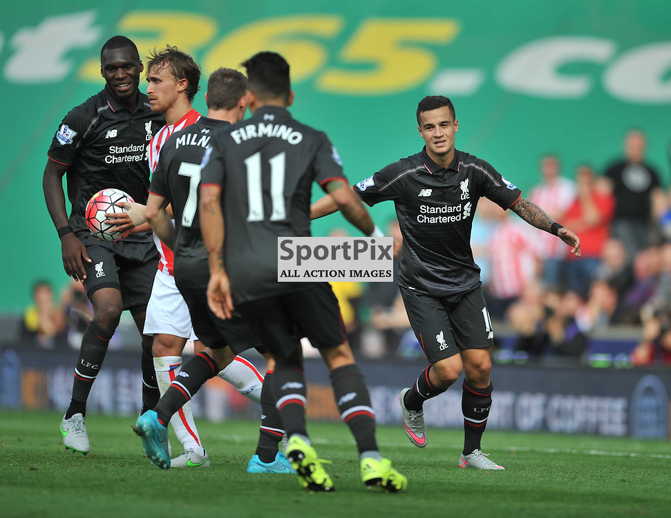 Liverpool Celebrate the only Goal at Stoke by Phillipe Coutino,   Stoke City v Liverpool Premiership Brittania Stadium, Sunday 9th August 2015