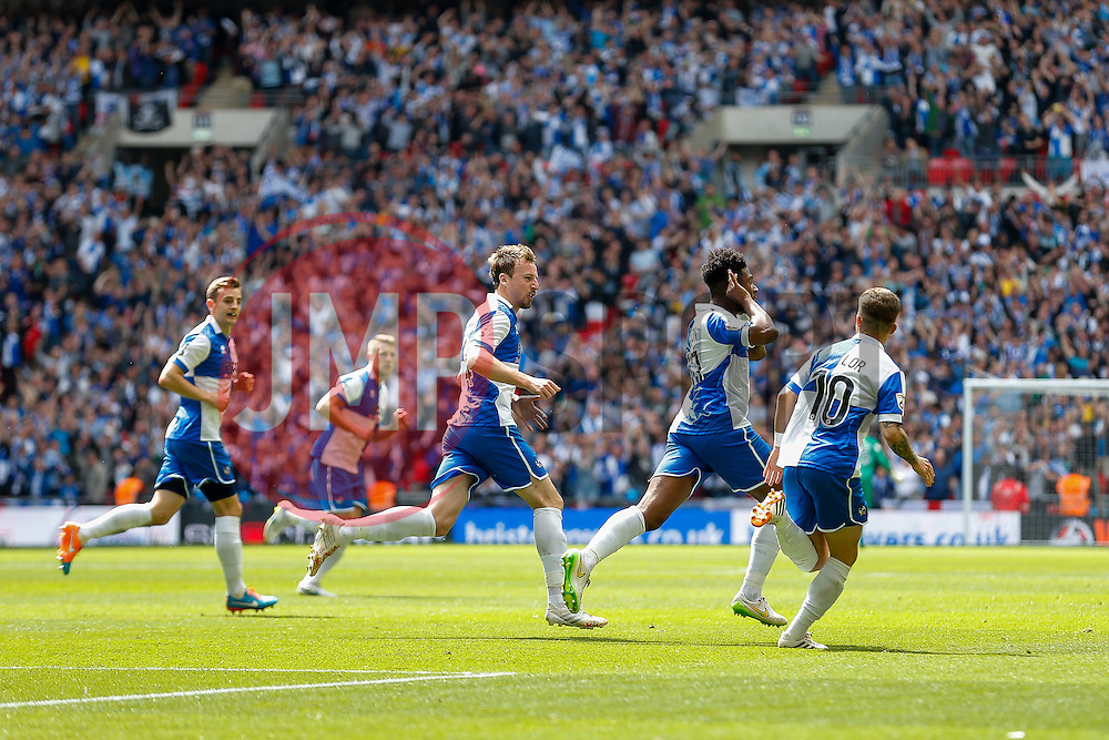Ellis Harrison of Bristol Rovers celebrates scoring a goal to make it 1-1 - Photo mandatory by-line: Rogan Thomson/JMP - 07966 386802 - 17/05/2015 - SPORT - FOOTBALL - London, England - Wembley Stadium - Bristol Rovers v Frimsby Town - Vanarama Conference Premier Play-off Final.