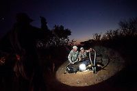 American hunters at a trophy hunt safari in Limpopo province, South Africa