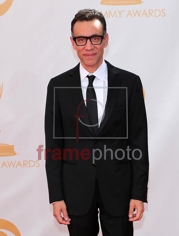 """*BRAZIL ONLY *ATENÇÃO EDITOR, IMAGEM EMBARGADA PARA VEÍCULOS INTERNACIONAIS* wenn20690476 - Los Angeles, EUA - 22//09/2013 - Fred Armisen  chega para a cerimônia de entrega do 65o Emmy Awards, considerado o """"Oscar da televião"""", realizado na tarde de hoje (22/09) no Nokia Theatre L.A., em Los Angeles, EUA. Foto: Adriana M. Barraza/Wenn/Frame"""