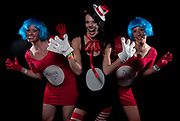 Jessica Geers, right, and Michelle Rushlo, left, dressed as Thing 1 and Thing 2 as Carrey Curell was the Cat in the Hat for the Halloween costume contest at The B.O.B. on Saturday, October 29, 2011..Date Shot 10-29-2011.(Matt Gade | The Grand Rapids Press)