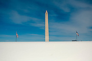 Snow surrounds the Washington Monument in Washington, D.C.