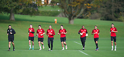 CARDIFF, WALES - Saturday, October 13, 2012: Wales players during a recovery training session ahead of the Brazil 2014 FIFA World Cup Qualifying Group A match against Croatia at the Vale of Glamorgan Hotel. l-r: head of fitness and science Ryland Morgans, Simon Church, Sam Ricketts, Hal Robson-Kanu, Sam Vokes, goalkeeper Jason Brown, Ashley 'Jazz' Richards, James Wilson. (Pic by David Rawcliffe/Propaganda)