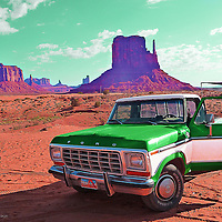 Green truck in Monument Valley in USA
