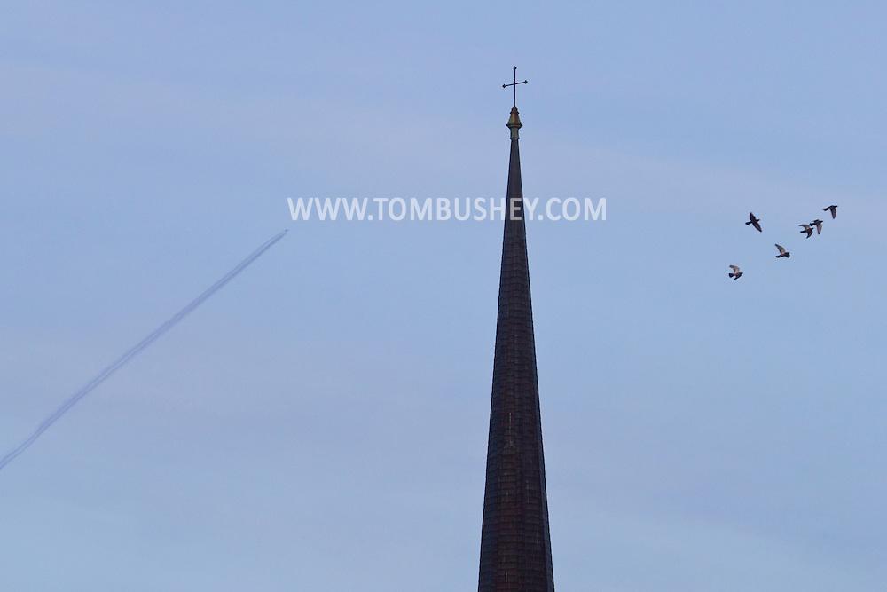 Middletown, New York - Middletown steeples on  Nov. 23, 2014.