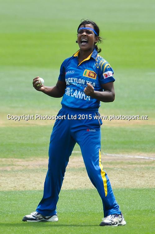 Ama Kanchana of Sri Lanka celebrates the wicket of Sara McGlashan of New Zealand during the 3rd ODI cricket match, White Ferns V Sri Lanka, at the Bert Sutcliffe Oval, Lincoln, New Zealand. 7rd November 2015. Copyright Photo: John Davidson / www.photosport.nz