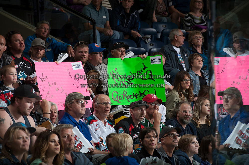 KELOWNA, CANADA - MAY 11: Fans on May 11, 2015 during game 3 of the WHL final series at Prospera Place in Kelowna, British Columbia, Canada.  (Photo by Marissa Baecker/Shoot the Breeze)  *** Local Caption *** fans
