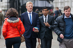 London, UK. 6th December, 2018. Oliver Dowden, Conservative MP for Hertsmere, arrives during a Privy Council meeting at the Cabinet Office.