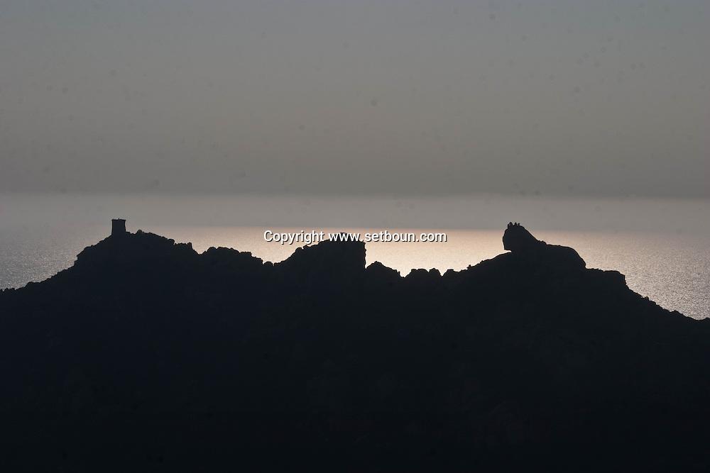 Roccapina, the Lion and the landscape  Corsica south  France   / le lion et le panorama a Roccapina  Corse du sud  France
