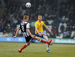 Bristol Rovers' Lee Mansell lifts the ball over Grimsby's Craig Disley - Photo mandatory by-line: Neil Brookman/JMP - Mobile: 07966 386802 - 14/02/2015 - SPORT - Football - Cleethorpes - Blundell Park - Grimsby Town v Bristol Rovers - Vanarama Football Conference