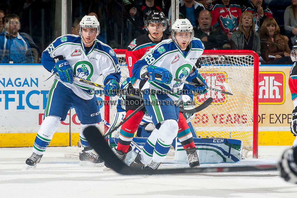 KELOWNA, CANADA - OCTOBER 7: Zac Mackay #25 and Tanner LeSann #29 of Swift Current Broncos block the net from a pass to Nick Merkley #10 of Kelowna Rockets during the first period on October 7, 2014 at Prospera Place in Kelowna, British Columbia, Canada.  (Photo by Marissa Baecker/Getty Images)  *** Local Caption *** Zac Mackay; Tanner LeSann; Nick Merkley;