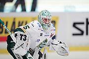 STOCKHOM 2017-10-18  Adam Werner, m&aring;lvakt i IF Bj&ouml;rkl&ouml;ven under uppv&auml;rmning inf&ouml;r matchen i Hockeyallsvenskan mellan AIK och IF Bj&ouml;rkl&ouml;ven p&aring; Hovet, Stockholm, den 18 oktober 2017.<br /> Foto: Nils Petter Nilsson/Ombrello<br /> ***BETALBILD***