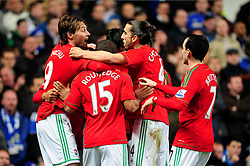 Swansea City's Michu celebrates his opening goal in front of the home fans at Stamford Bridge with team mates - Photo mandatory by-line: Dougie Allward/JMP - Tel: Mobile: 07966 386802 09/01/2013 - SPORT - FOOTBALL - Stamford Bridge - London  -  Chelsea v Swansea City - Capital One Cup Semi-Final First Leg.