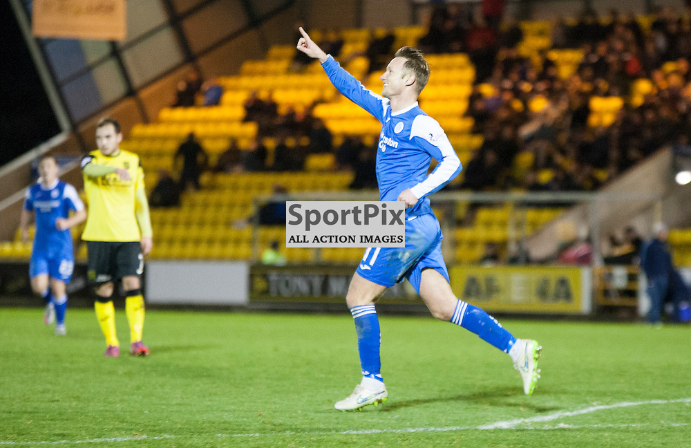 Livingston v Queen of the South, Scottish Championship, 2 January 2016, Iain Russell (Queen of the South, 11) celebrates his goal during the Livingston v Queen of the South Scottish Championship match played at the Toni Macaroni Arena, © Chris Johnston | SportPix.org.uk