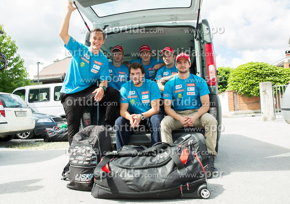 Rok Perko, Klemen Kosi, Bostjan Kline, Zan Kranjec, Martin Cater and Misel Zerak at departure of Slovenian Men Ski Team to training camp in Argentina and Chile on August 21, 2014 in SZS, Ljubljana, Slovenia. Photo by Vid Ponikvar / Sportida.com
