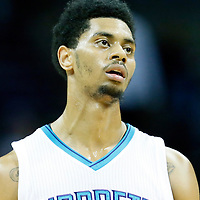 03 November 2015: Charlotte Hornets guard Jeremy Lamb (3) rests during the Charlotte Hornets  130-105 victory over the Chicago Bulls, at the Time Warner Cable Arena, in Charlotte, North Carolina, USA.
