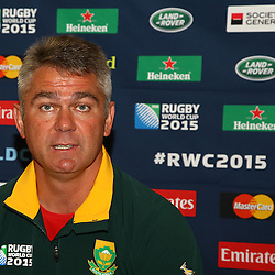EASTBOURNE, ENGLAND - SEPTEMBER 16: Heyneke Meyer (Head Coach) of South Africa during the South African Springboks team announcement at Grand Eastbourne Hotel on September 16, 2015 in Eastbourne, England. (Photo Steve Haag Emirates)