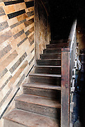Steps and staircase at entrance to the New York Bakery in Mumbai.