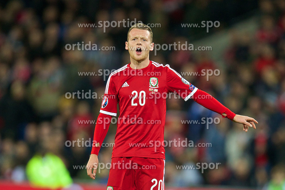 13.10.2014, City Stadium, Cardiff, WAL, UEFA Euro Qualifikation, Wales vs Zypern, Gruppe B, im Bild Wales' Jake Taylor in action against Cyprus // 15054000 during the UEFA EURO 2016 Qualifier group B match between Wales and Cyprus at the City Stadium in Cardiff, Wales on 2014/10/13. EXPA Pictures &copy; 2014, PhotoCredit: EXPA/ Propagandaphoto/ David Rawcliffe<br /> <br /> *****ATTENTION - OUT of ENG, GBR*****
