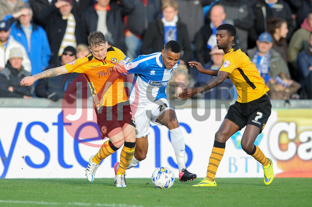 Cristian Montano of Bristol Rovers attempts to break away from Scott Barrow of Newport County and Medy Elito - Mandatory byline: Dougie Allward/JMP - 07966 386802 - 24/10/2015 - FOOTBALL - Memorial Stadium - Bristol, England - Bristol Rovers v Newport County AFC - Sky Bet League Two