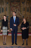 Queen Letizia of Spain, King Felipe VI of Spain and Michelle Bachelet attended a reception in honour of Chilean President at the El Pardo Palace on October 30, 2014 in Madrid, Spain