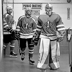 TRENTON, ON  - NOV 14,  2017: Eastern Canada Cup 2017, game between OJHL Coffey and CCHL Red. Jake Smith #30, James Waldron #7 and Connor Hill #11 of Team CCHL Red take to the ice to start the second period.<br /> (Photo by Shawn Muir / OJHL Images)