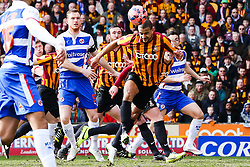 Bradford City's James Meredith clears the ball - Photo mandatory by-line: Matt McNulty/JMP - Mobile: 07966 386802 - 07/03/2015 - SPORT - Football - Bradford - Valley Parade - Bradford City v Reading - FA Cup - Quarter Final