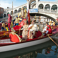 The Doge and the queen at Rialto Bridge on the Grand Canal. Every year, the first Sunday of September, the Historical Regatta comes back in Venice, the most traditional among the venetian events, which took place for the first time the 10th of January 1315 under the rule of the doge Giovanni Soranzo