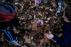 Jacob Coutermarsh, 7, gets buried in leaves by his brother Tyler, 9, left, and his neighbor Hunter Grant, 5, right, in Grant's front yard in Lebanon Wednesday, November 11, 2009. <br /> Valley News - James M. Patterson<br /> jpatterson@vnews.com<br /> photo@vnews.com