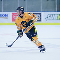 2nd year forward Dillan McCombie (9) of the Regina Cougars in action during the Men's Hockey Home Game on November 5 at Co-operators arena. Credit: Arthur Ward/Arthur Images